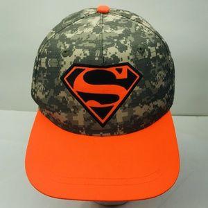 Superman Youth Boys Army Fatigue Hat Green Orange